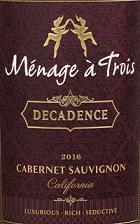 弗利埃都酒庄畅享系列赤霞珠红葡萄酒(Folie a Deux Menage a Trois Decadence Cabernet Sauvignon,...)