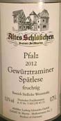 阿尔特斯琼瑶浆迟摘葡萄酒(Altes Schlobchen Spatlese Gewurztraminer Pfalz, Germany)