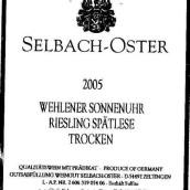 泽巴赫温勒内日晷园雷司令迟摘甜白葡萄酒(Selbach-Oster Wehlener Sonnenuhr Riesling Spatlese, Mosel, Germany)
