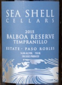 贝壳酒庄巴波亚珍藏丹魄干红葡萄酒(Sea Shell Cellars Balboa Reserve Tempranillo,Paso Robles,USA)