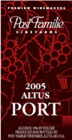波斯特家族阿尔特斯波特风格加强酒(Post Familie Vineyards Altus Port,Altus,USA)