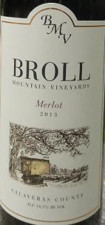 布罗尔山酒庄梅洛干红葡萄酒(Broll Mountain Vineyards Merlot,Calaveras County,USA)