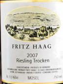 海格雷司令干白葡萄酒(QbA)(Fritz Haag Riesling Trocken QbA, Mosel, Germany)