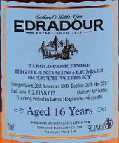 埃德拉多尔16年巴罗洛桶陈苏格兰单一麦芽威士忌(Edradour Aged 16 Years Barolo Cask Finish Highland Single ...)
