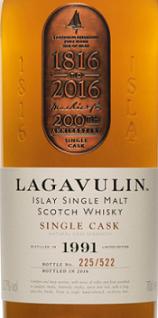 乐加维林1991年份单桶200周年苏格兰单一麦芽威士忌(Lagavulin 1991 Single Cask 200th Anniversary Single Malt ...)