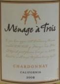 三人之家酒庄霞多丽干白葡萄酒(Menage a Trois Chardonnay, California, USA)