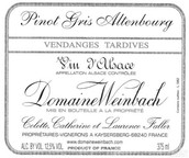 温巴赫奥登堡灰皮诺迟摘甜白葡萄酒(Domaine Weinbach Altenbourg Pinot Gris Vendanges Tardives, Alsace, France)