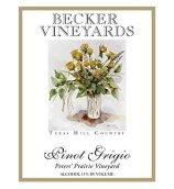 贝克彼得斯草原园灰皮诺白葡萄酒(Becker Vineyards Peters'Prairie Vineyard Pinot Grigio,Texas...)