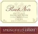 斯普林菲尔德黑皮诺干红葡萄酒(Springfield Estate Pinot Noir,Robertson,South Africa)