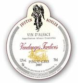 贾斯丁·博瑟酒庄灰皮诺晚收甜白葡萄酒(Justin Boxler Pinot Gris Vendanges Tardives,Alsace,France)